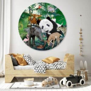 Jungle-dieren-kinderkamer cirkelbehang.jpg