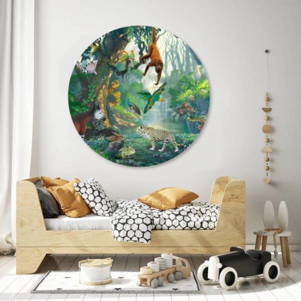 Rainforest-jungle-kinderkamer-wandcirkel-cirkelbehang.jpg